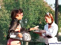 Gorgeous Lesbians Gets Wet While Playing Tennis