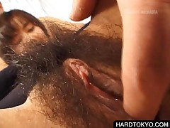 Japanese Hottie Gets Hairy Pussy Licked