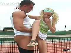 Blonde Tennis Girl Gets To Suck And Fuck A Big Dick On The Court Outdoor By XNPass