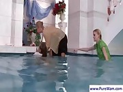 Hot lesbians gets naughty in pool