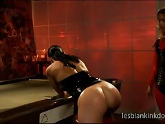 Cute Slave Gets Ass Spanked On Pool Table