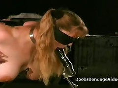 Busty Blindfolded Blonde Sucks Dildo In Boobs Bondage Video