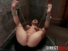 Struggling Sadistic Rope Bondage With Brunette Slave Chick Gets Her Wet Pussy Punished Real Hard