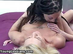Teen Brunette Licking An Experienced Mature Housewife Her Hairy Pussy By OldNYoungLesbians