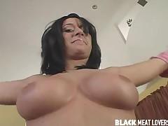 Brunette Chick Takes Black Meatstick