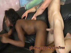 This Black Beauty Gets Her Pretty Pussy Slammed By A Big White Rod