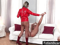 Hot Slave Gets Disciplined With A Huge Strapon By Mistress