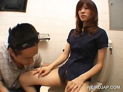 Shy Asian Teen Gets Hairy Pussy Touched On Toilet