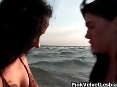 Two Horny Lesbian Babes In A Super Hot Scene At The Beach By PinkVelvetLesbians