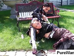 Gorgeous Slave Getting Dirty With Cream With Her Mistress