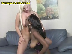 Blonde Sucks And Get Fucked By Dommes Strapon