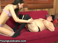 Horny Teen Brunette Loves Licking This Fat Mature Housewife Her Pussy By OldNYoungLesbians