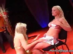 Two Strippers With Big Tits Licking Pussy On Stage