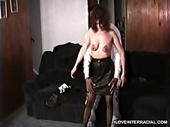 Wife Has A Black Man Undress Her As He Is Feeling Her Tits And Pussy Then Has Her Play With Herself