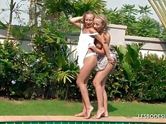 Aisha And Bea - Adorable Teen Lesbians Fondle Each Others Hot Bodies While Stripping Off Their Dress