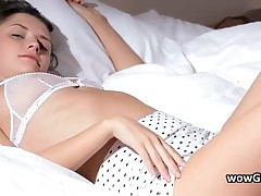 Hooters Teenage In Lingerie Jerking His Jizzster On A Bed 1 By Wowgf