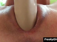 Peaches - Naughty Brunette Chick Having Fun With Large Dildos