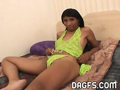 Weird Looking Ebony Teen Masturbates With Convictions