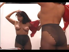 Big Boobed Brunette MILF Fingering Her Pussy In Ripped Pantyhose