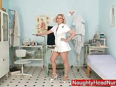Tamara - Mature Fetish Uniform Nurse Tamara Speculum Dildo Sex