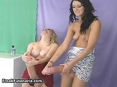 Blonde Babe Gets Her Huge Cock Pleased By This Tall Brunette Chick By FreakFutanaria