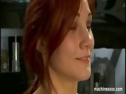 Busty redhead dildo machine