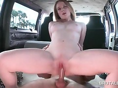 Hot Naked Babe Getting Pussy Fucked In The Bus