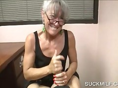 Horny Mommy In Glasses Rubbing Big Phallus