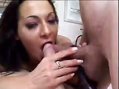 Whore Shoves Three Pricks Inside Her Butt