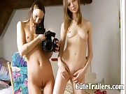 Two skinny girls opening pussies