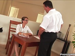 Holly West - Secretary In Stockings Serves Her Boss