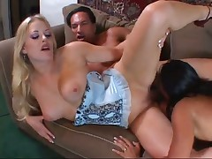 Interracial Girls In Threeway With Man