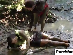 Dirty Lesbian Babes Having Fun In Mud At The Lake
