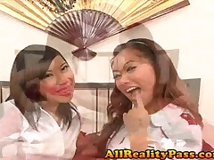 Lily Lie And Lana Croft - Mr Chews Asian Beaver - 2 Asian Pussys Share Big Cock