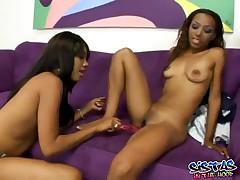 Tina And Kapri - Tina And Kapri Dildo Fucking Each Other On Couch