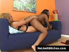 Melrose - Ebony Lesbian Melrose Rides Sistas Strapon Deep And Fast