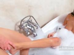 Two Slim Lesbos Washing Hot Bodies In Bathtub