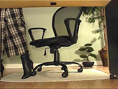 Amber - Secretary Underdesk Masturbation In Black Boots And Stockings