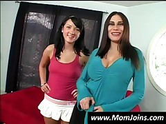 Seductive Mom And Daughter Tease A Dude