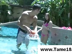 Lily Carter - Teenage Hoe Lily Carter Tease A Dude In Pool