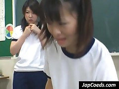 Innocent Japanese Coeds Cleaning The Classroom Floor