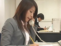 Asian Redhead Gets Tied Up On The Chair At Work