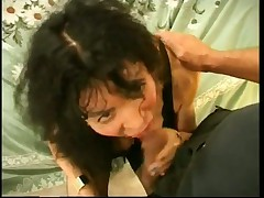 Dark Haired Tranny Takes Penis