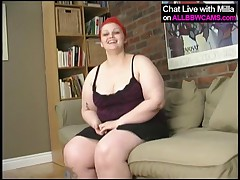 Red Head BBW Sticks Dildo In Chubby Pussy