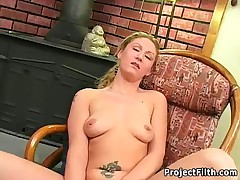 Dirty Blonde Amateur Fucked With Some Veggies In This Bizarre Fetish