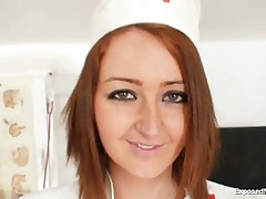 Lidka - Sexy Redhead Nurse In Latex Uniform Gets Nasty