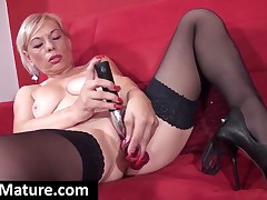 Mom In Stockings And High Heels Fuck Dildo