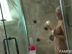 Hot Blonde Plays With Tits And Pussy Under The Shower