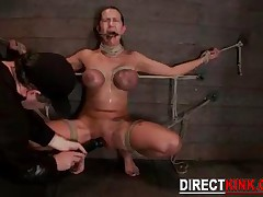 Innocent Teen With Huge Breast With Tied Arms And Legs Toying Her Tight Pussy In Sitting Position