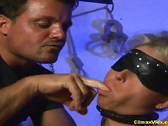 Sex Slave - This Blonde Dominatrix Is Tied And Blindfolded - Part 1